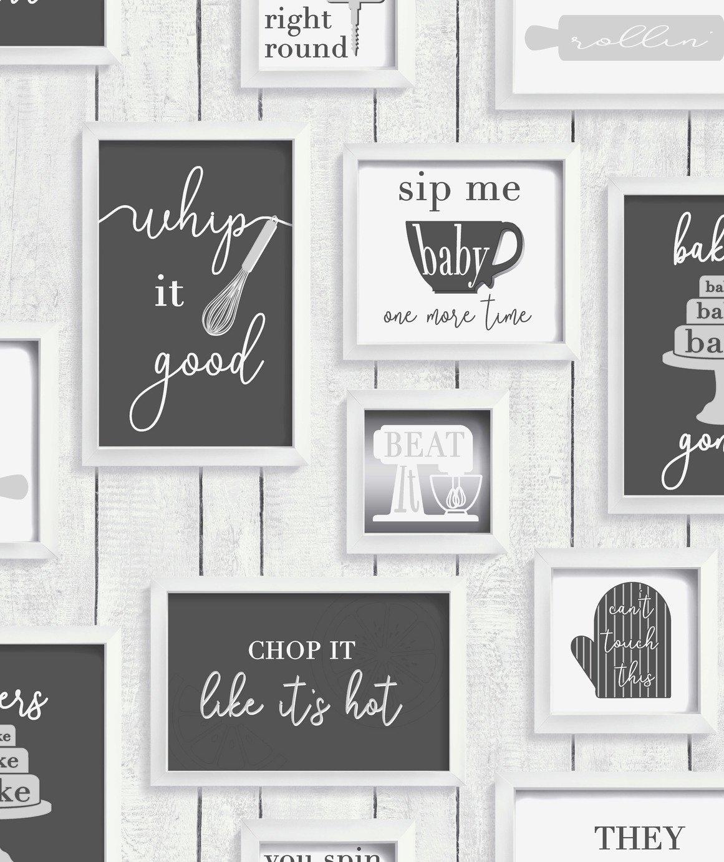 Contour Framed Kitchen Quotes Black & White Wallpaper
