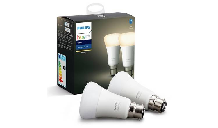 Philips Hue B22 White Smart Bulb with Bluetooth - 2 Pack