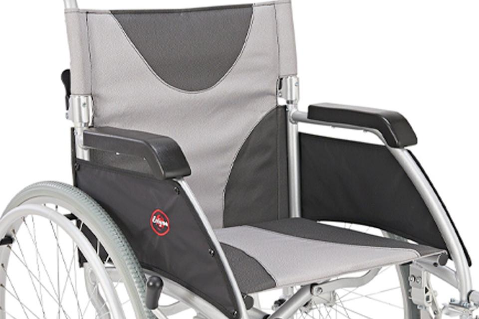 Close up of wheelchair seat.