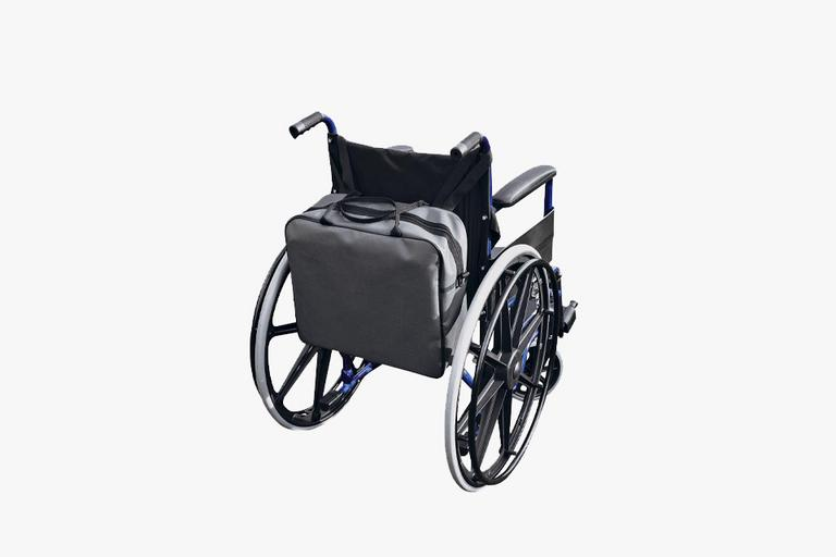 Bag on back of wheelchair.