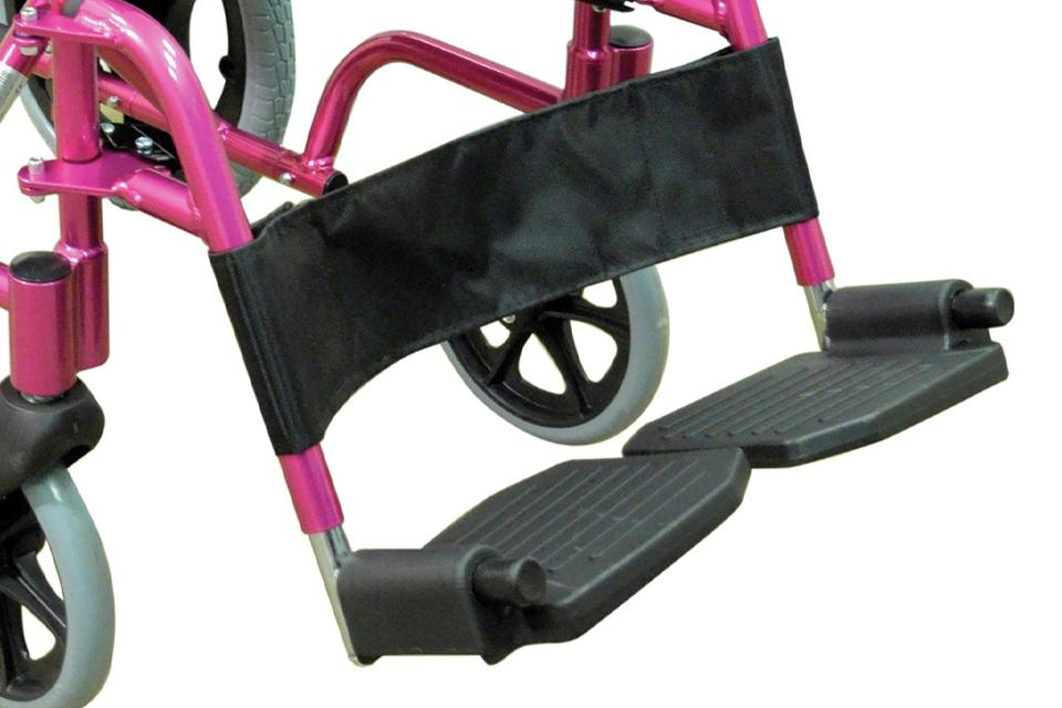 Close up of wheelchair footrests.