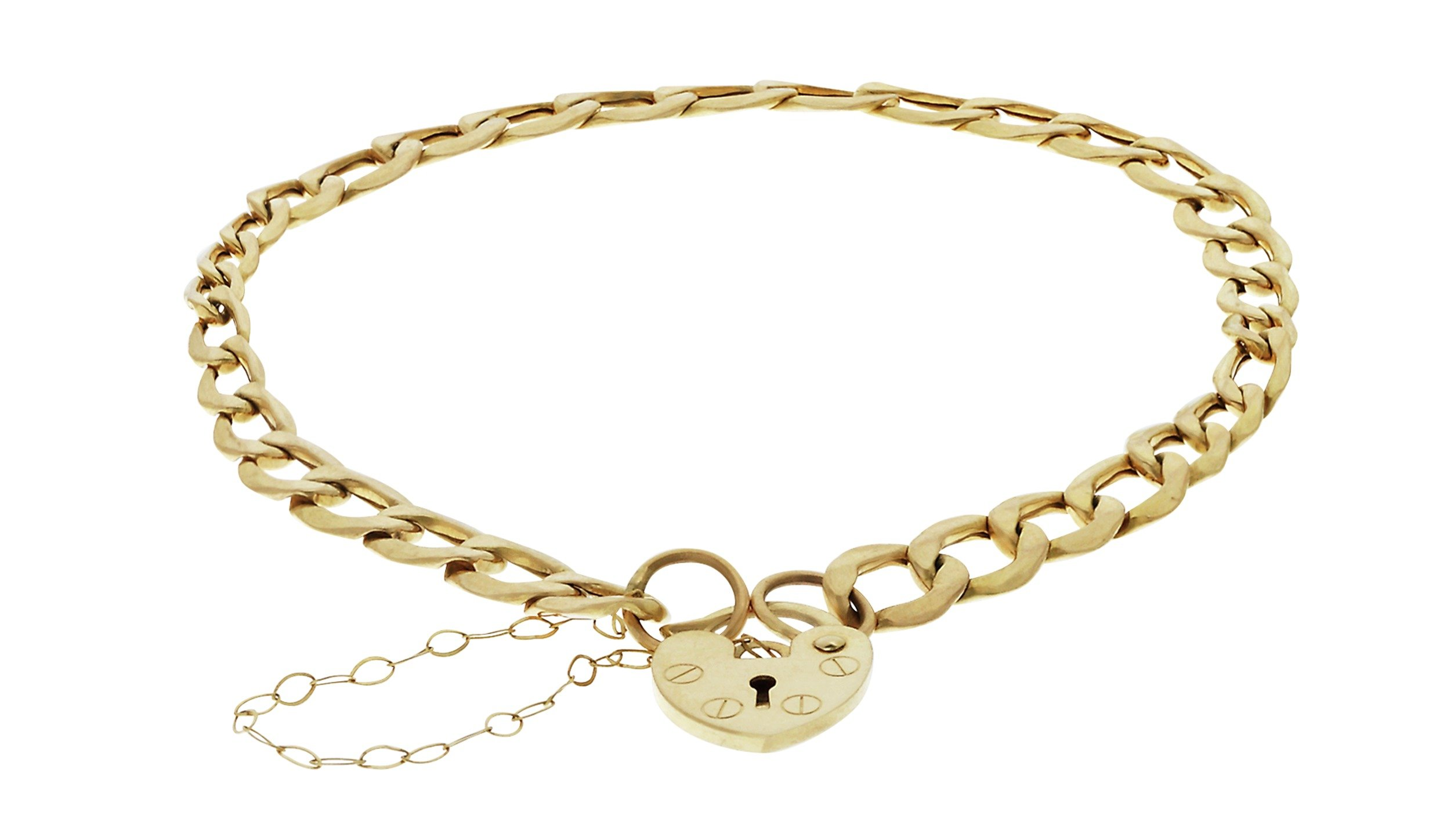 Revere 9ct Gold Curb and Padlock Bracelet