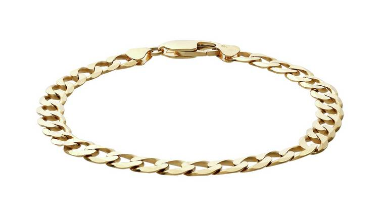 Revere 9ct Yellow Gold Solid Look Curb Bracelet