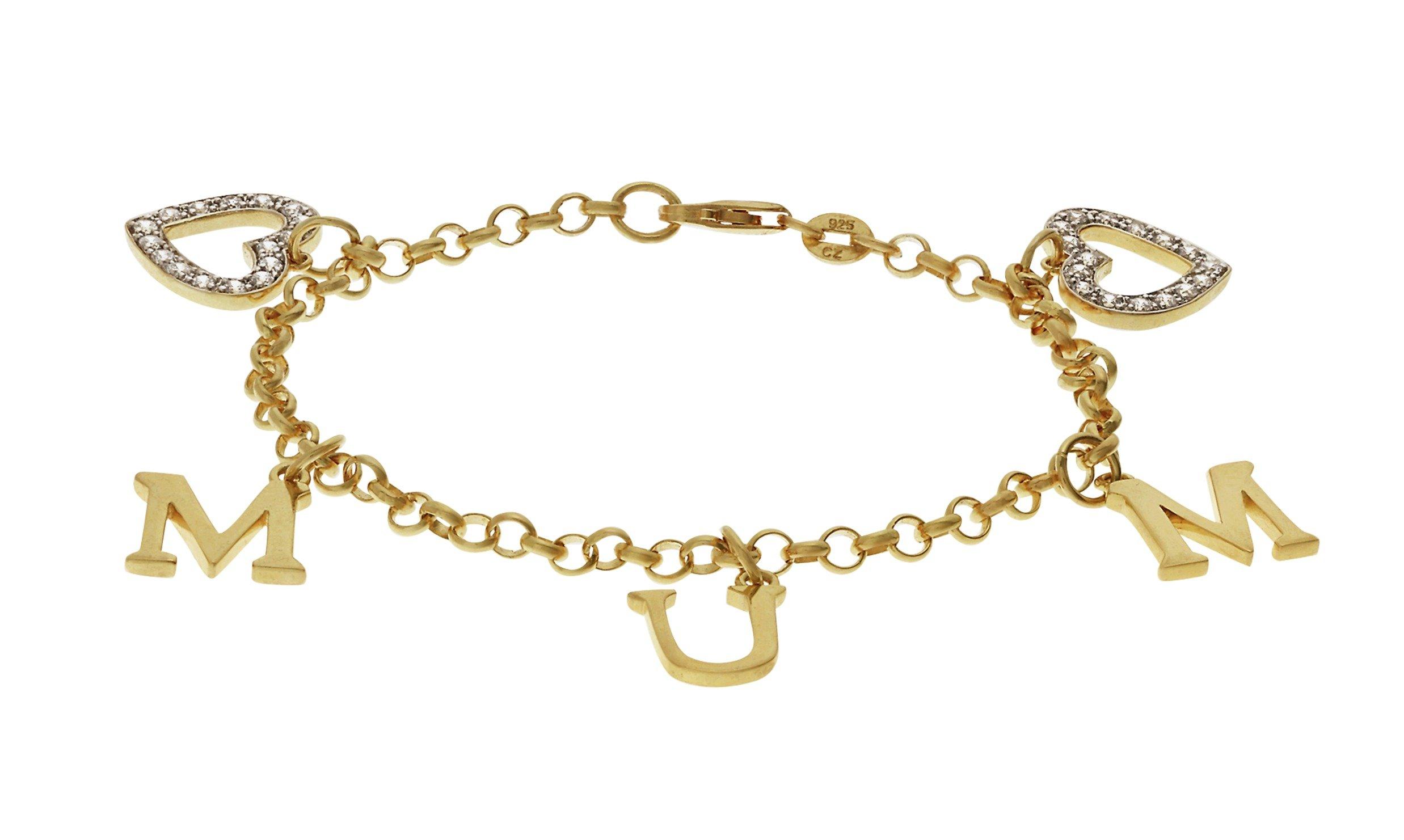 18 Carat Gold - Plated - Silver CZ 'Mum' Heart Charm Bracelet.