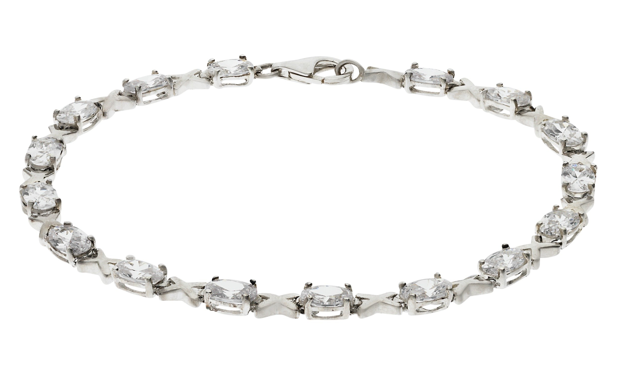 Sterling Silver - White Cubic Zirconia and Kisses Bracelet.
