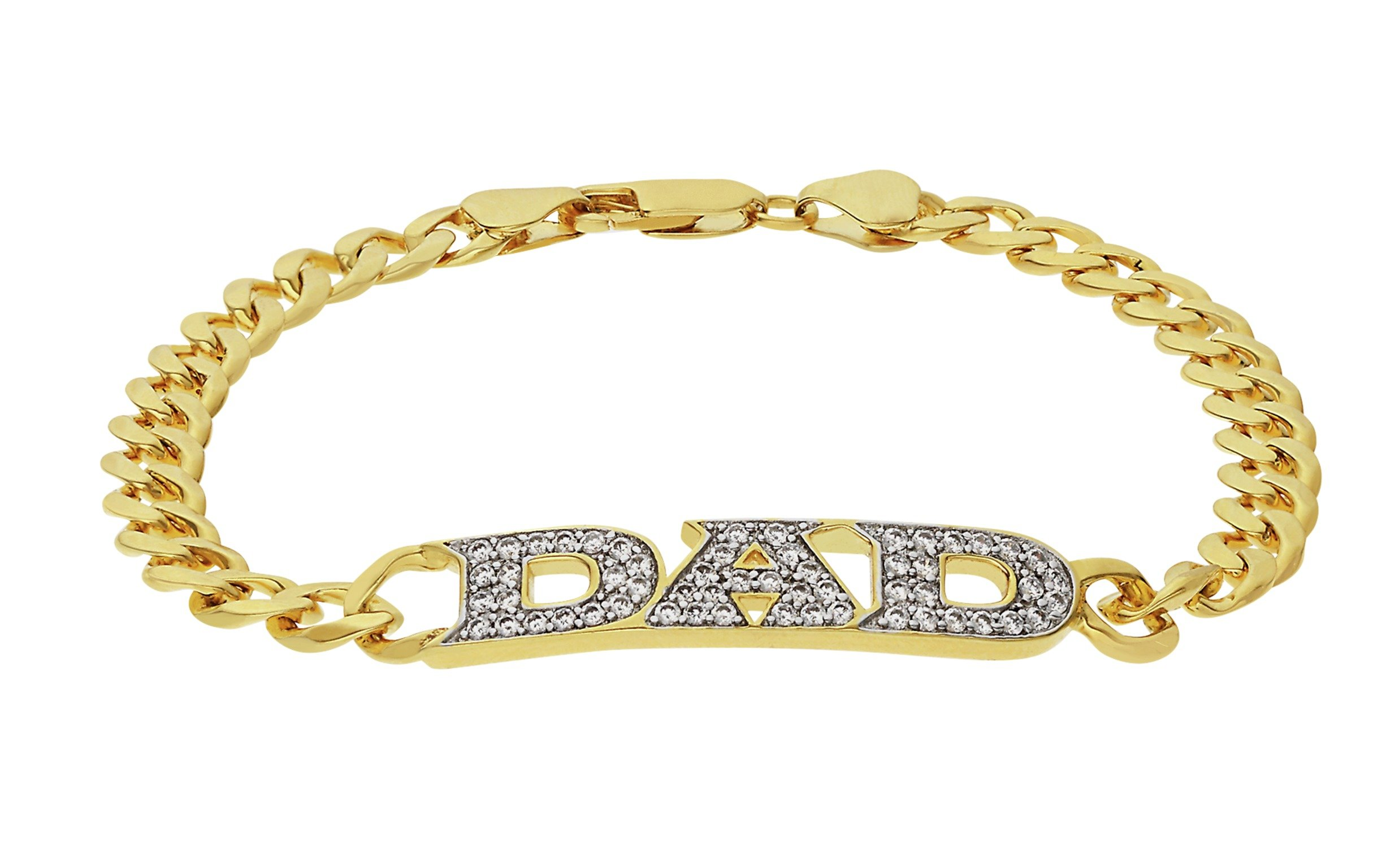 18ct - Gold - Plated Sterling Silver - CZ Dad - Set - Bracelet