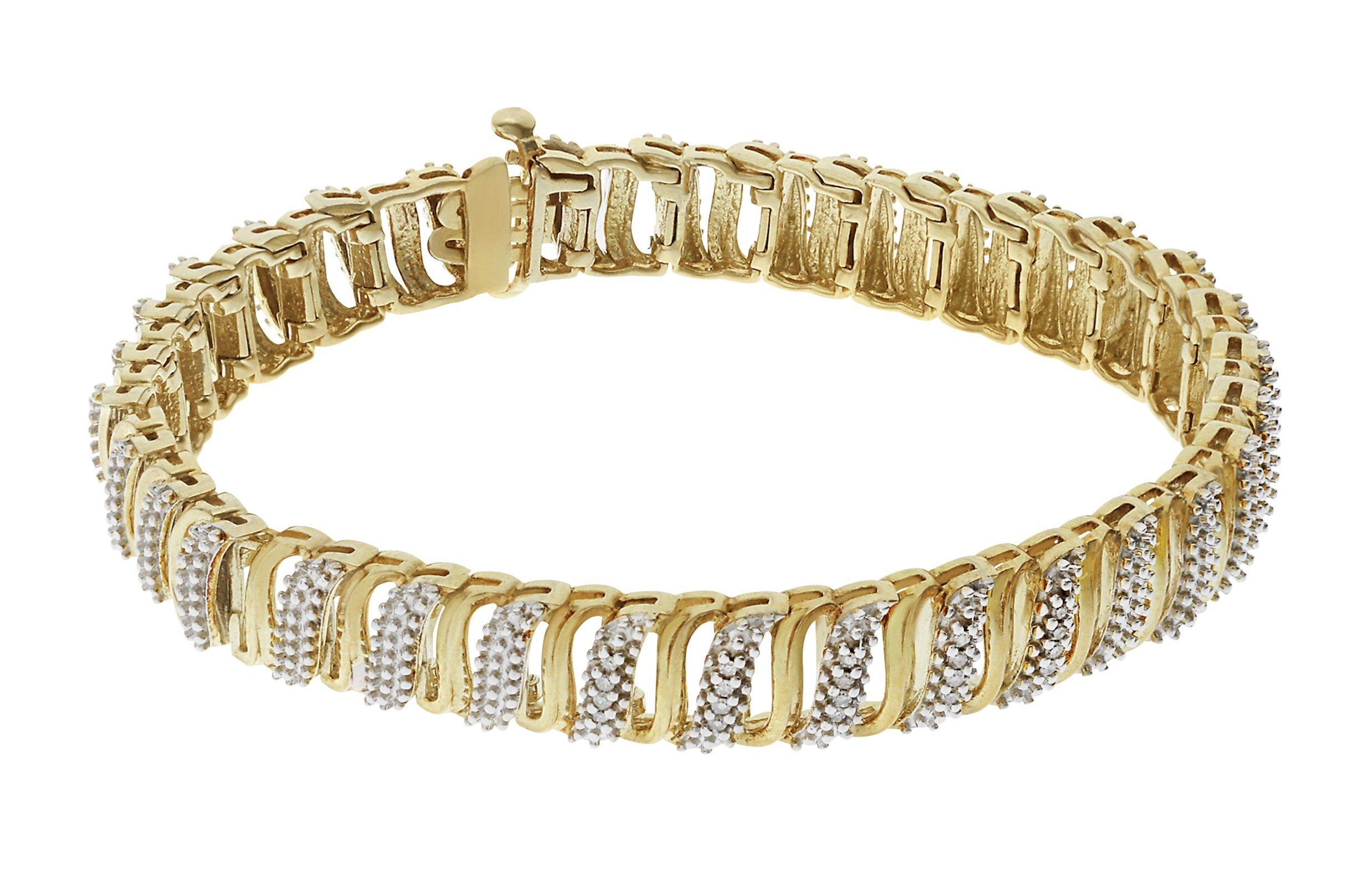 18 Carat Gold - Plated - Silver 0.10 Carat Diamond Bracelet.