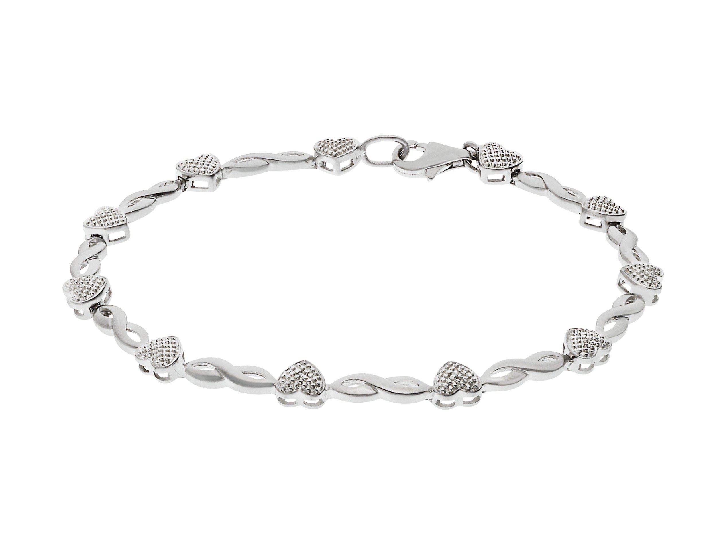 Revere Silver Diamond Accent Hearts & Kisses Bracelet