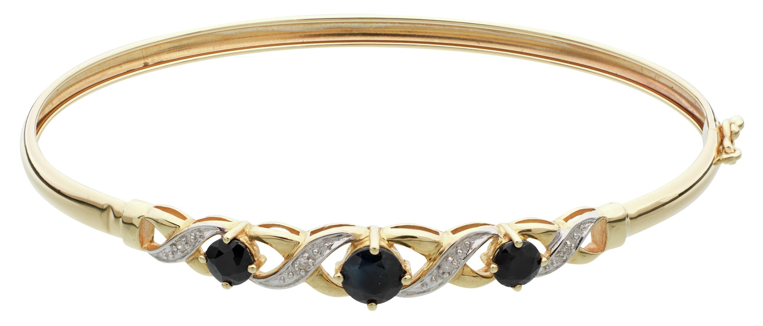 Image of 9 Carat Gold - Black Sapphire and Diamond Accent Flexible Bangle.