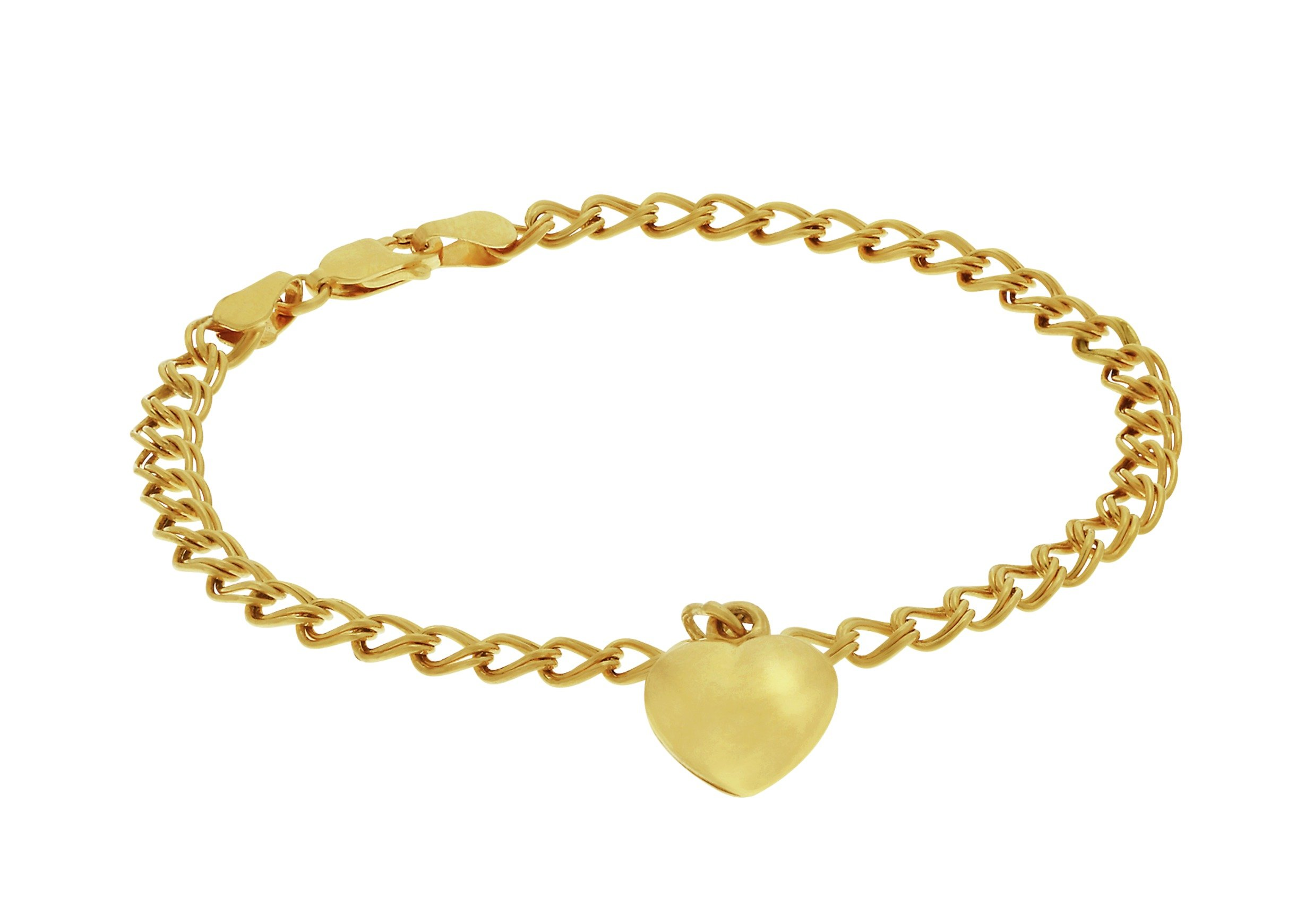 Revere 9ct Gold Plated Sterling Silver Heart Charm Bracelet