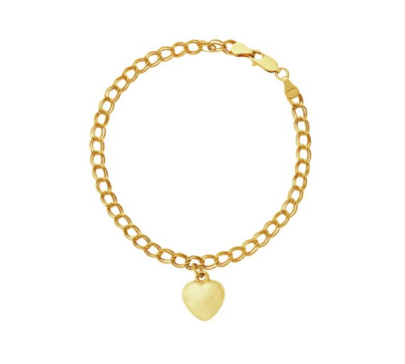 8d7d13893 ... czech revere 9ct gold plated sterling silver heart charm bracelet 532a9  3b77d ...