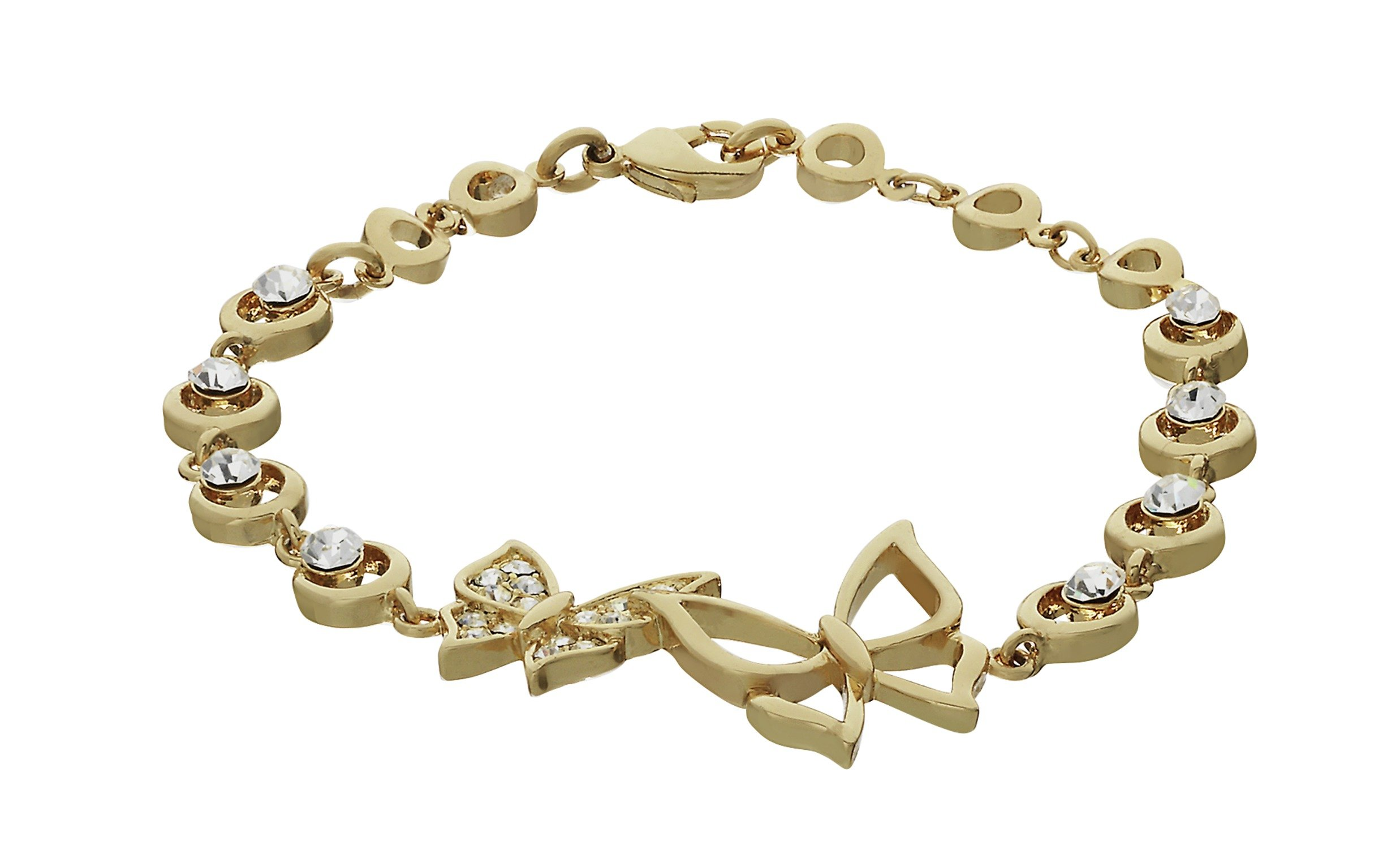 Image of 18 Carat Gold - Plated - Sterling Silver - Crystal Butterfly Bracelet.