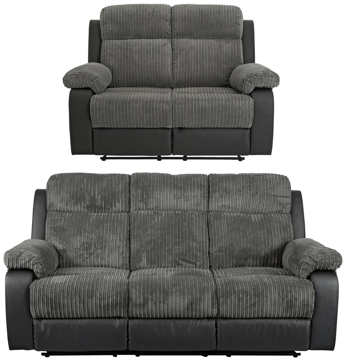Collection Bradley 3 Seat & 2 Seat Recliner Sofas -Charcoal