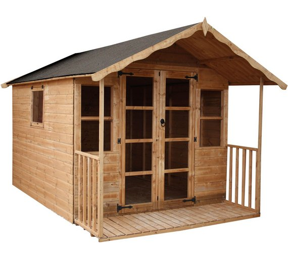 mercia premier wooden summer house with veranda 12 x 8ft - Garden Sheds With Veranda