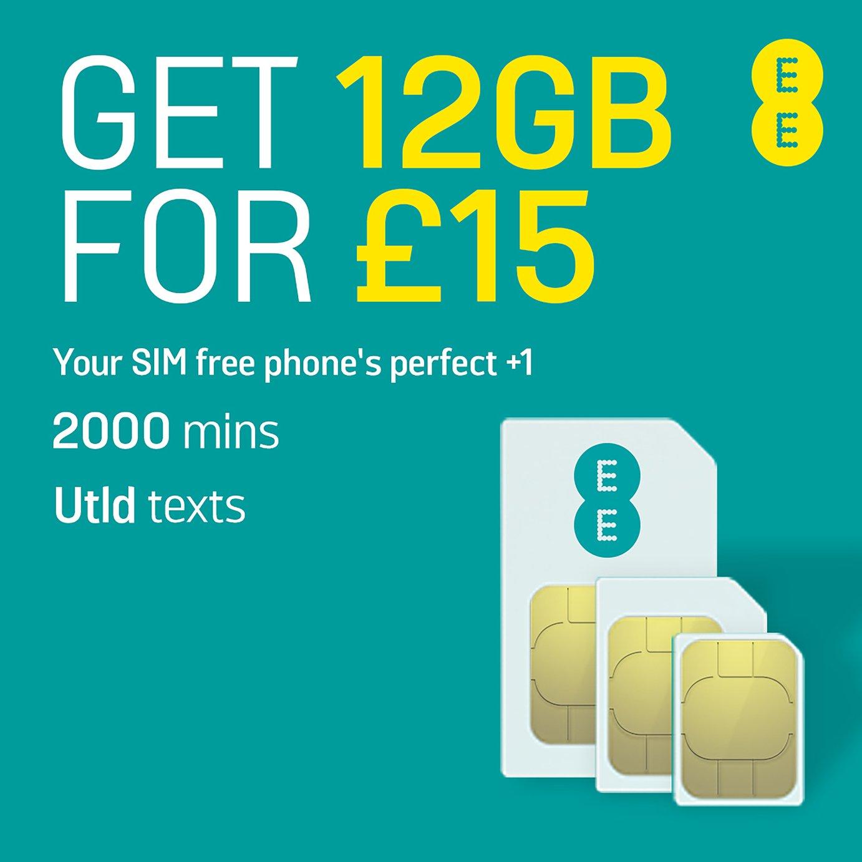 EE 12GB Flex Pay As You Go 30 Day Plan SIM Card