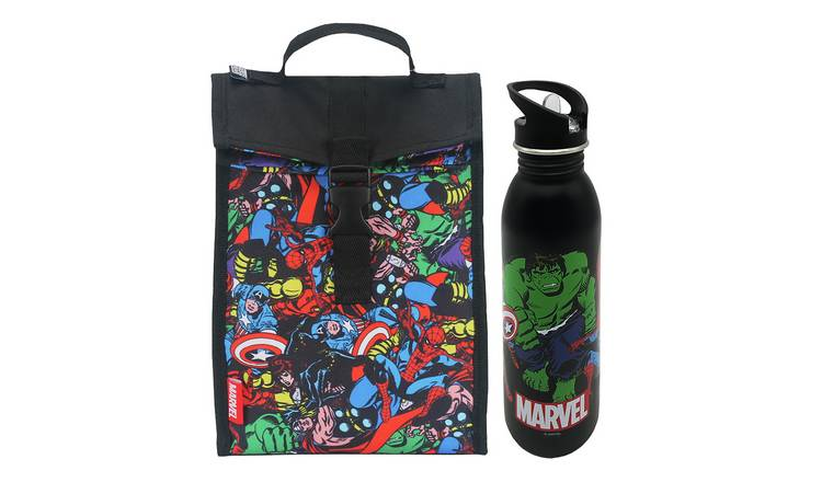 Marvel Comics Fold Down Lunch Bag & Bottle - 700ml
