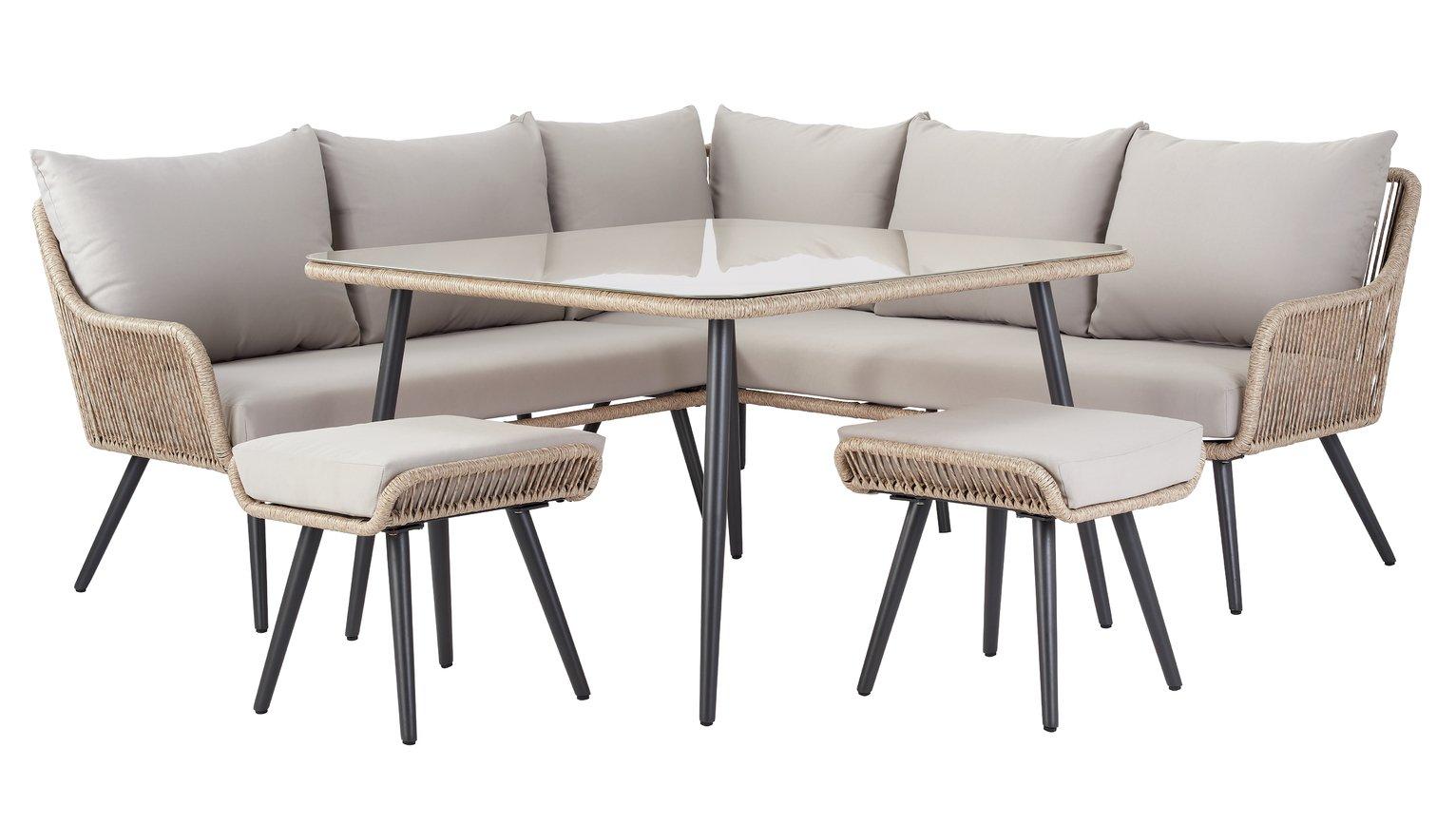 Argos Home Malta 6 Seater Steel Corner Sofa Set