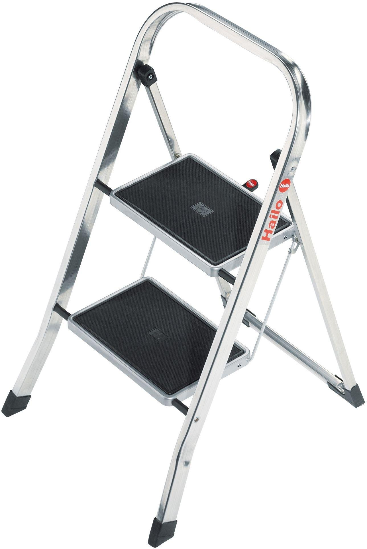 Image of Hailo - 2 Tread Polished Aluminium Step Stool