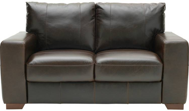 Habitat Eton 2 Seater Leather Sofa - Dark Brown