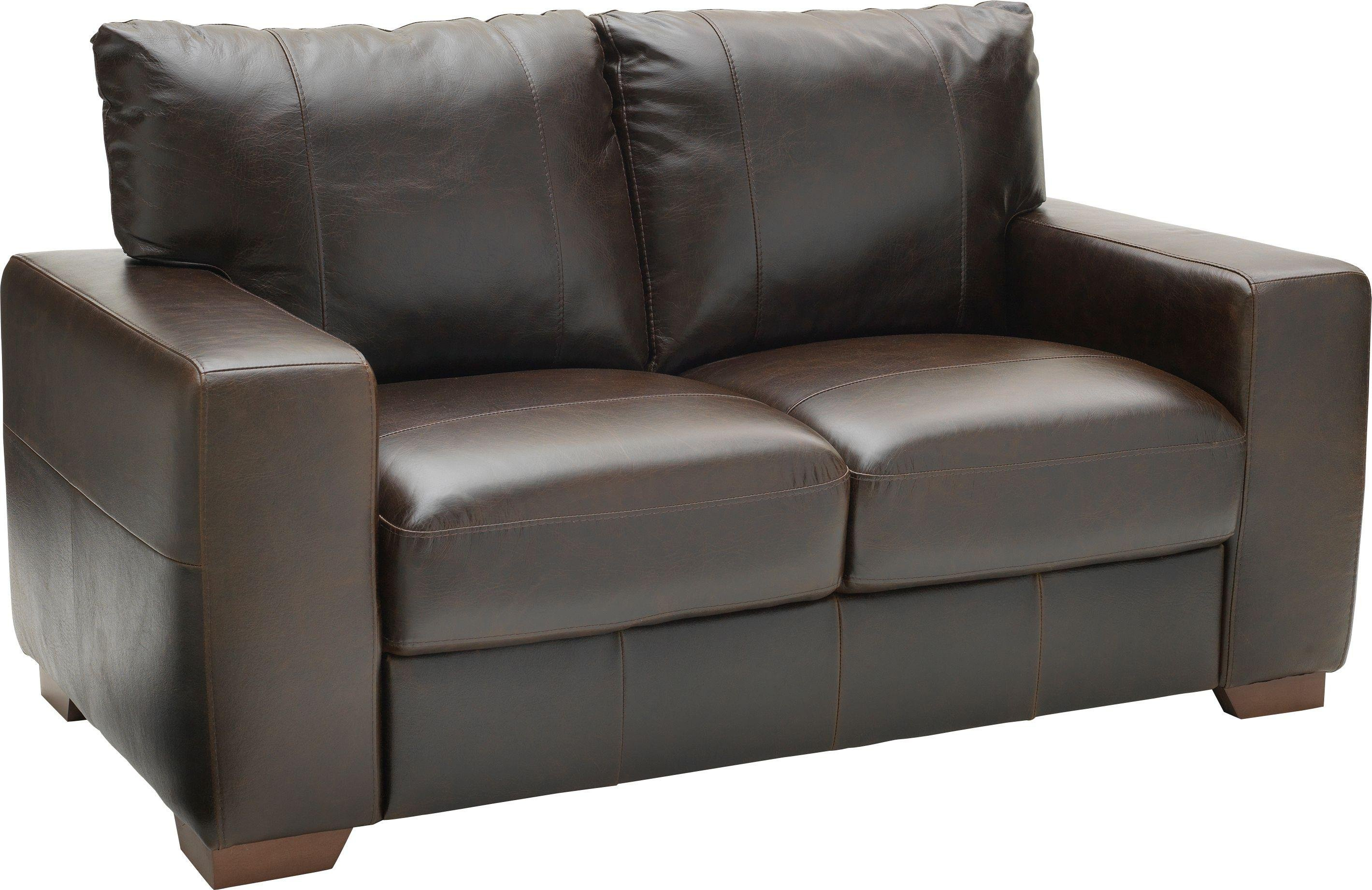 Argos Home Eton 2 Seater Leather Sofa - Dark Brown