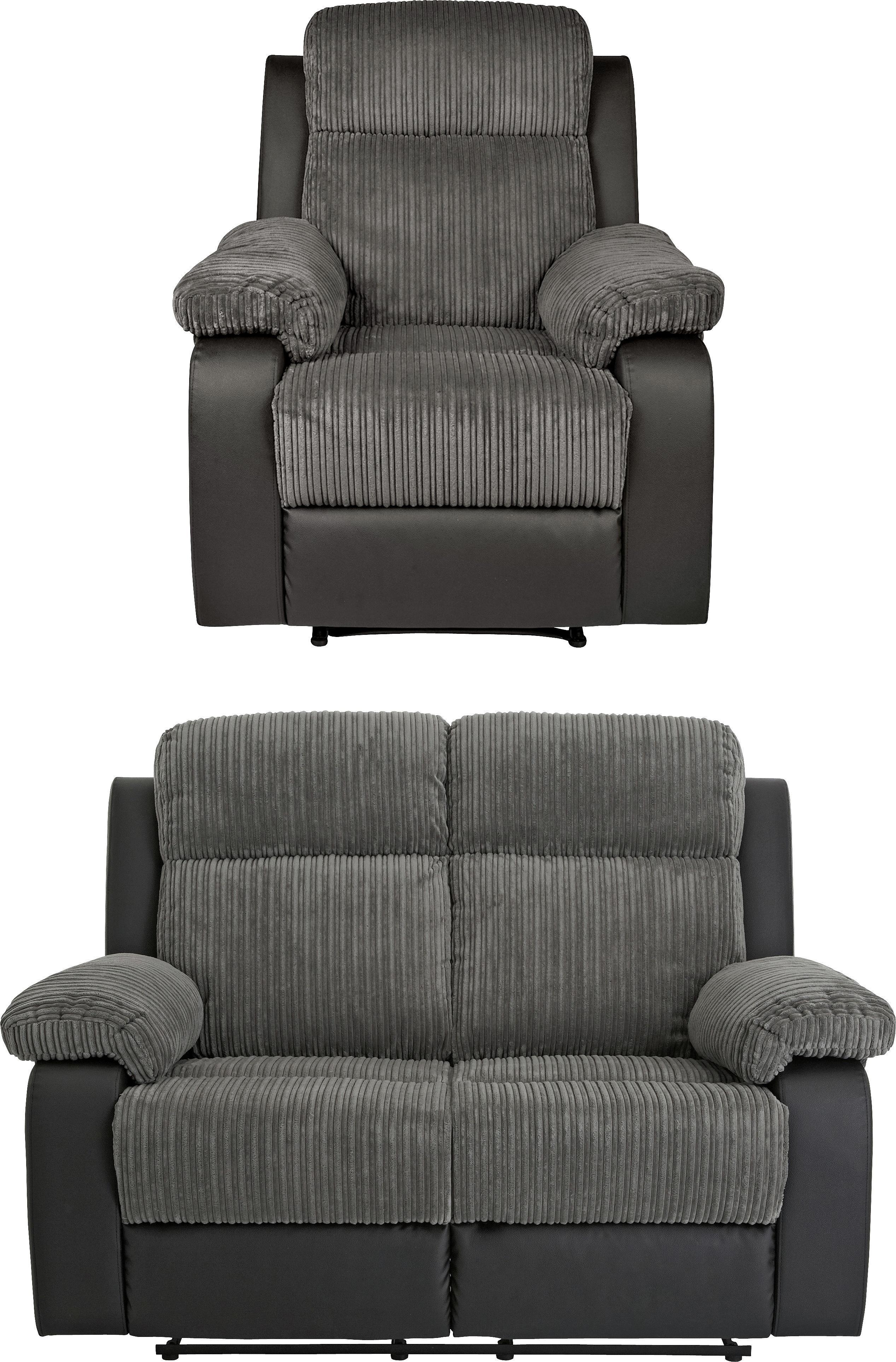 Buy Argos Home Bradley Chair U0026 2 Seater Recliner Sofa   Charcoal | Sofa  Sets | Argos