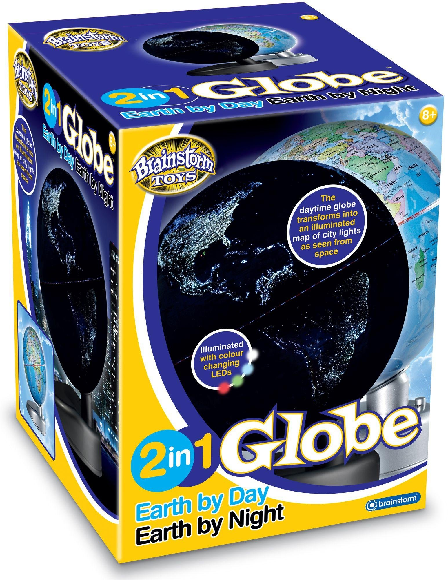 Image of Brainstorm Toys 2 in 1 Globe Earth by Day/Earth by Night.