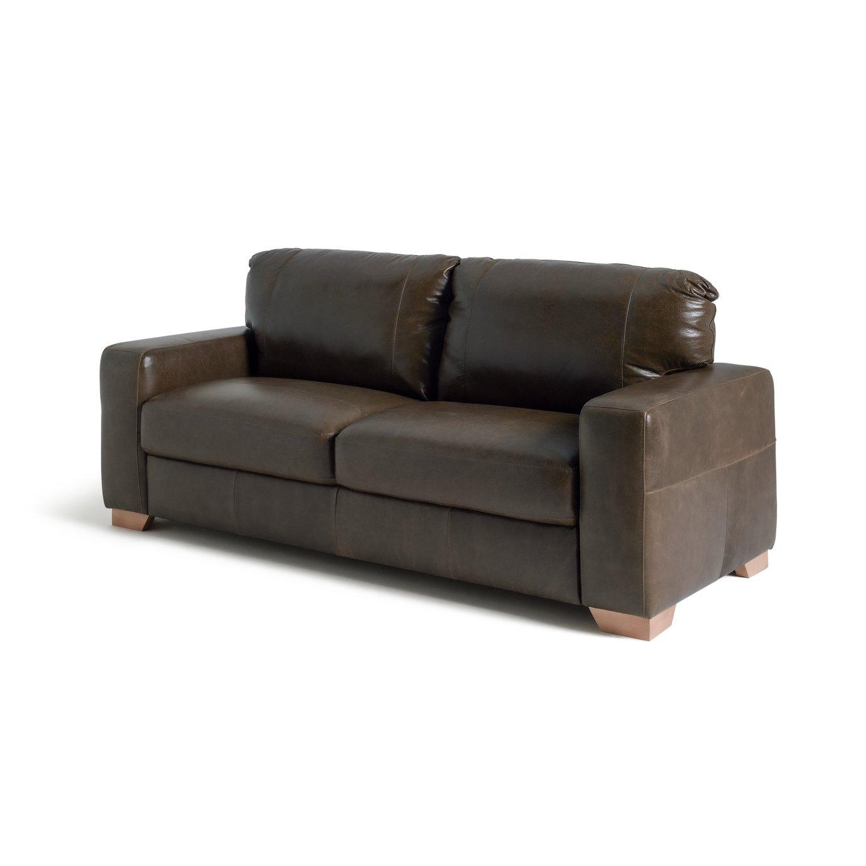 Argos Home Eton 3 Seater Leather Sofa - Dark Brown