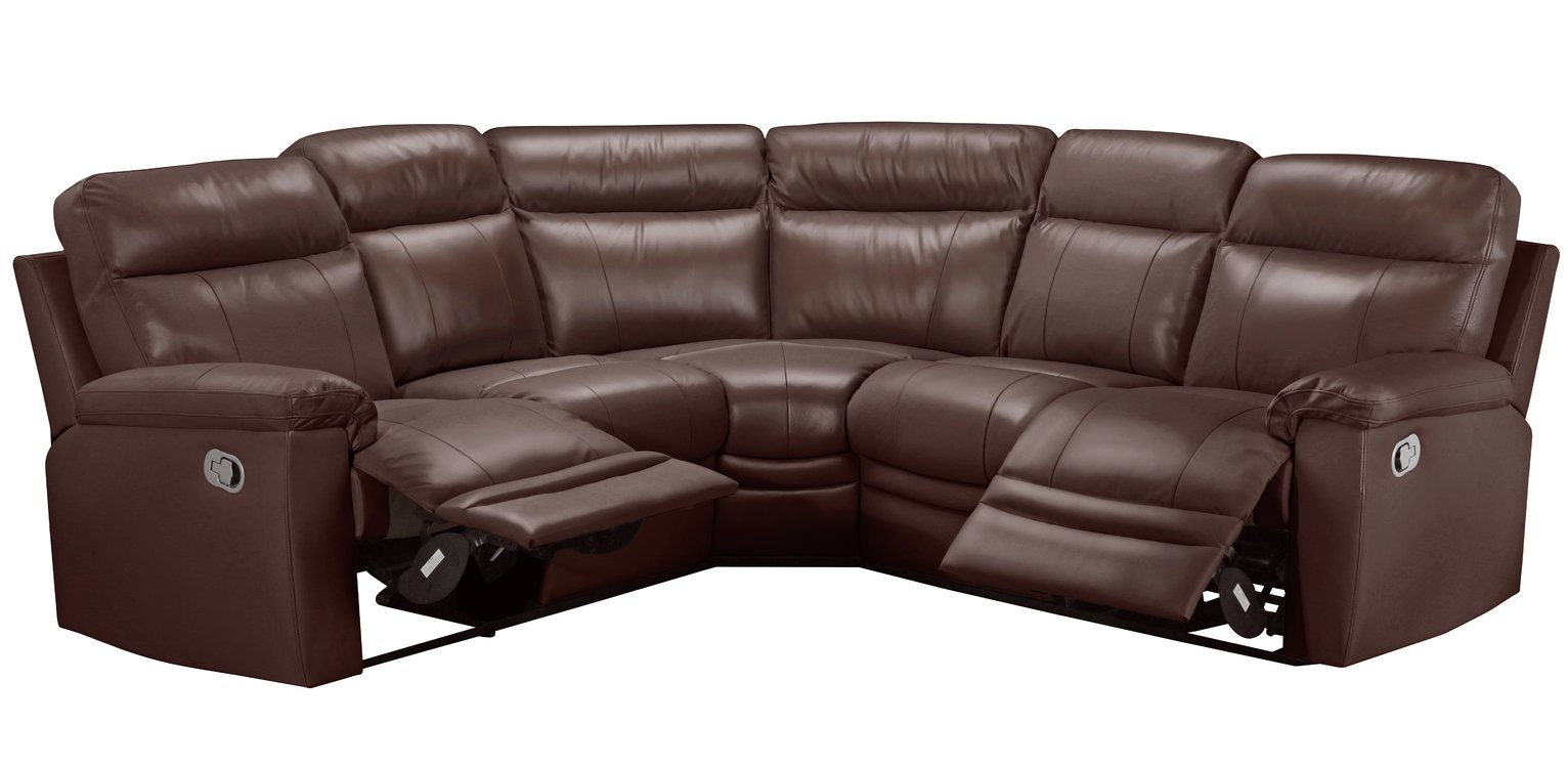 Argos Home Paolo Right Corner Manual Recliner Sofa - Brown
