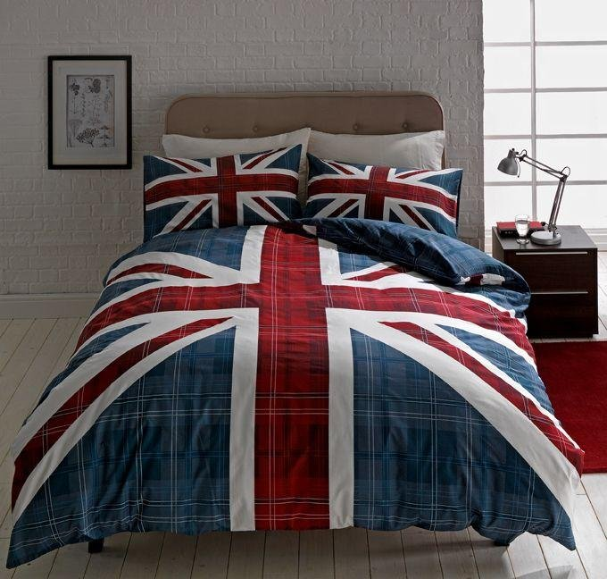 buy home check union jack multicoloured bedding set - double at argos co uk