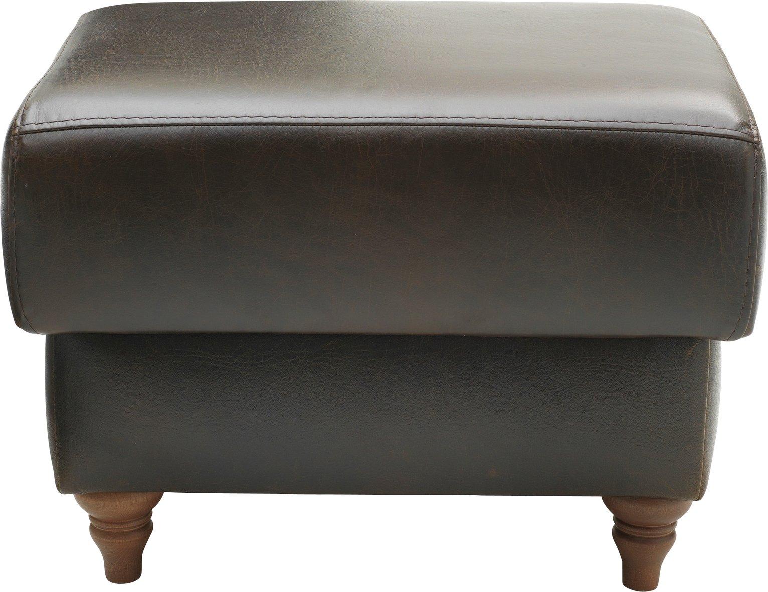 Argos Home Argyll Leather Storage Footstool - Dark Brown