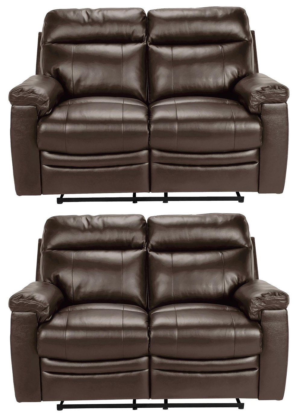 Argos Home New Paolo Pair of 2 Seat Recliner Sofa - Brown