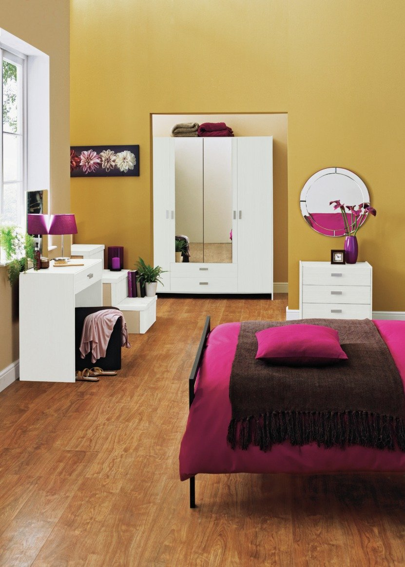 Argos Home Capella 1Drw Dressing Tbl, Stool & Mirror - White