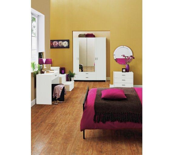 Buy HOME New Capella Drw Dressing Table Stool Mirror White - White dressing table argos