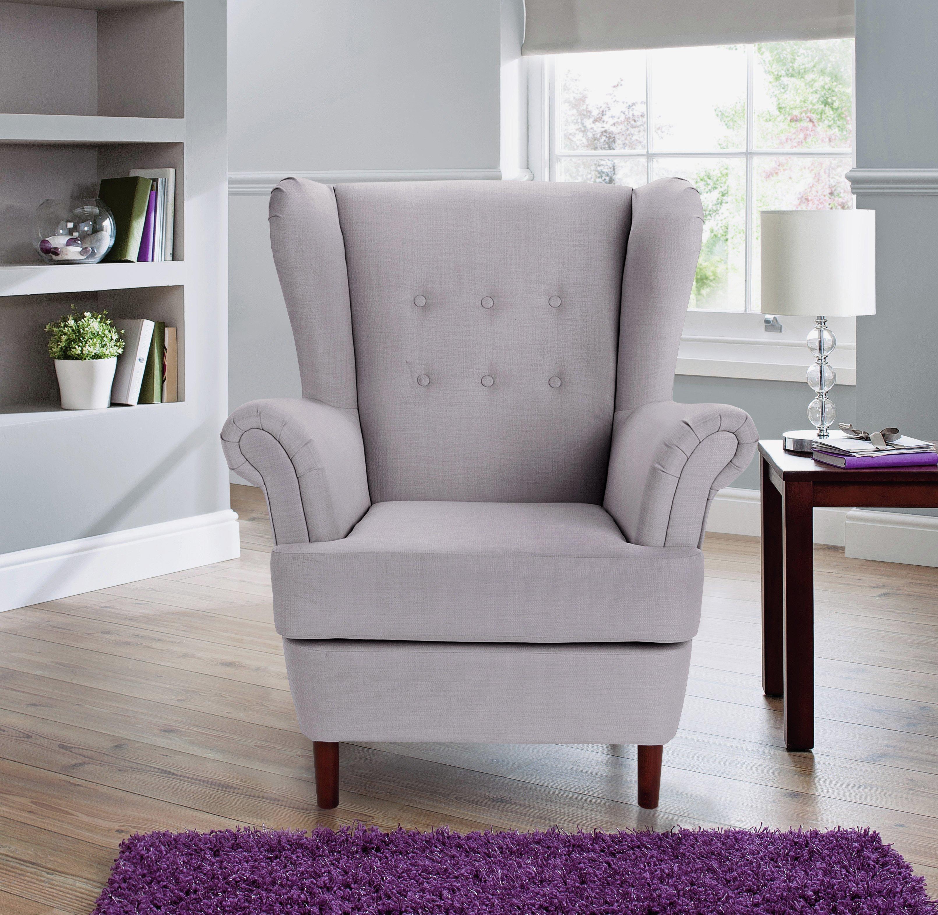 Argos Home Martha Fabric Wingback Chair - Light Grey