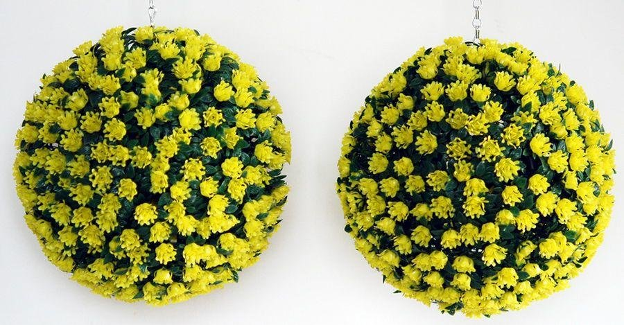 Artificial - Yellow Rose Topiary Grass Balls - Pack of 2 lowest price