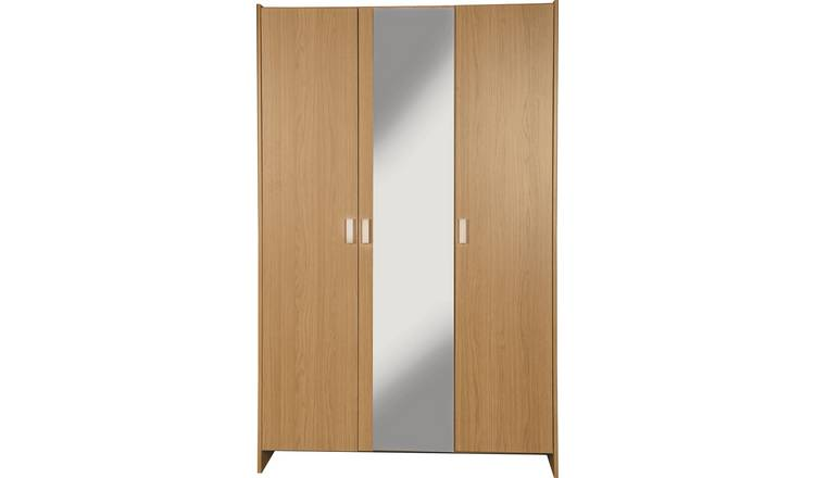 Argos Home Capella 3 Door Mirrored Wardrobe - Oak Effect