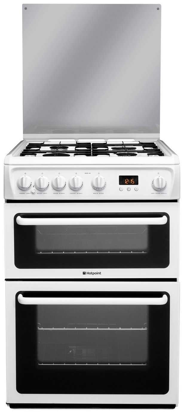 sale on hotpoint hagl60p double gas cooker white. Black Bedroom Furniture Sets. Home Design Ideas