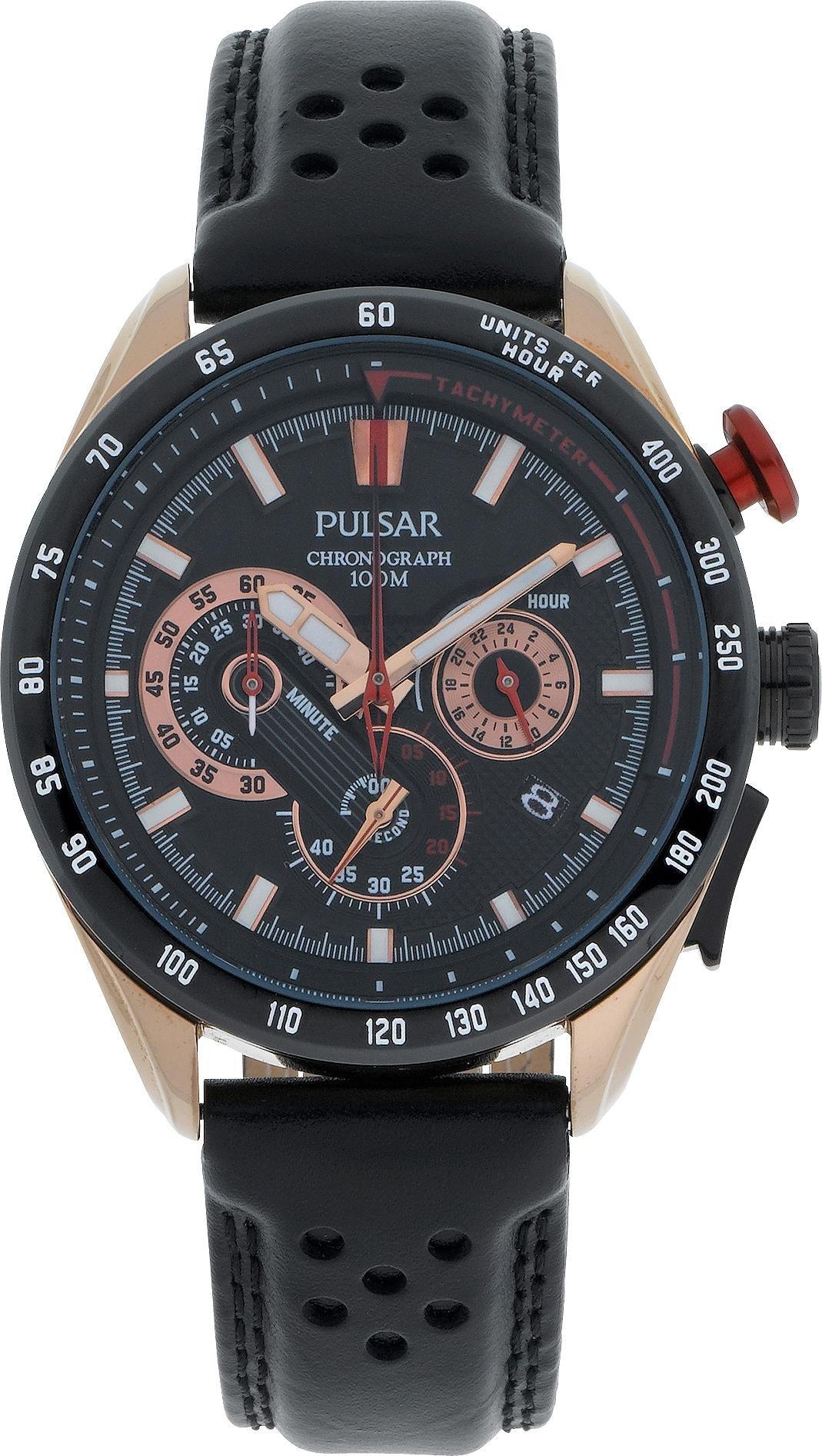 Pulsar WRC Men's Black Leather Strap Chronograph Watch