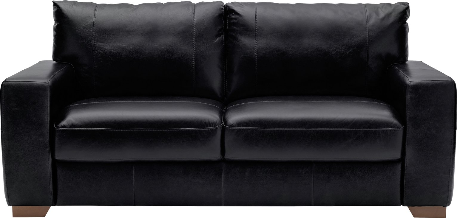Argos Home Eton 3 Seater Leather Sofa - Black