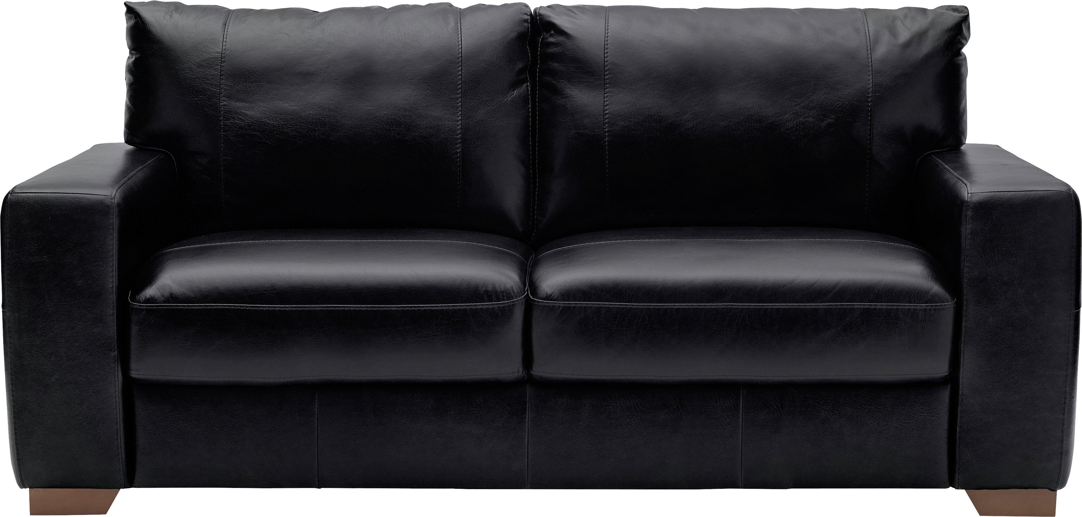 Argos Home Eton 3 Seater Leather Sofa - Black