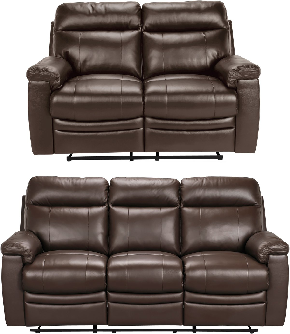 Argos Home Paolo 2 & 3 Seater Manual Recliner Sofas - Brown