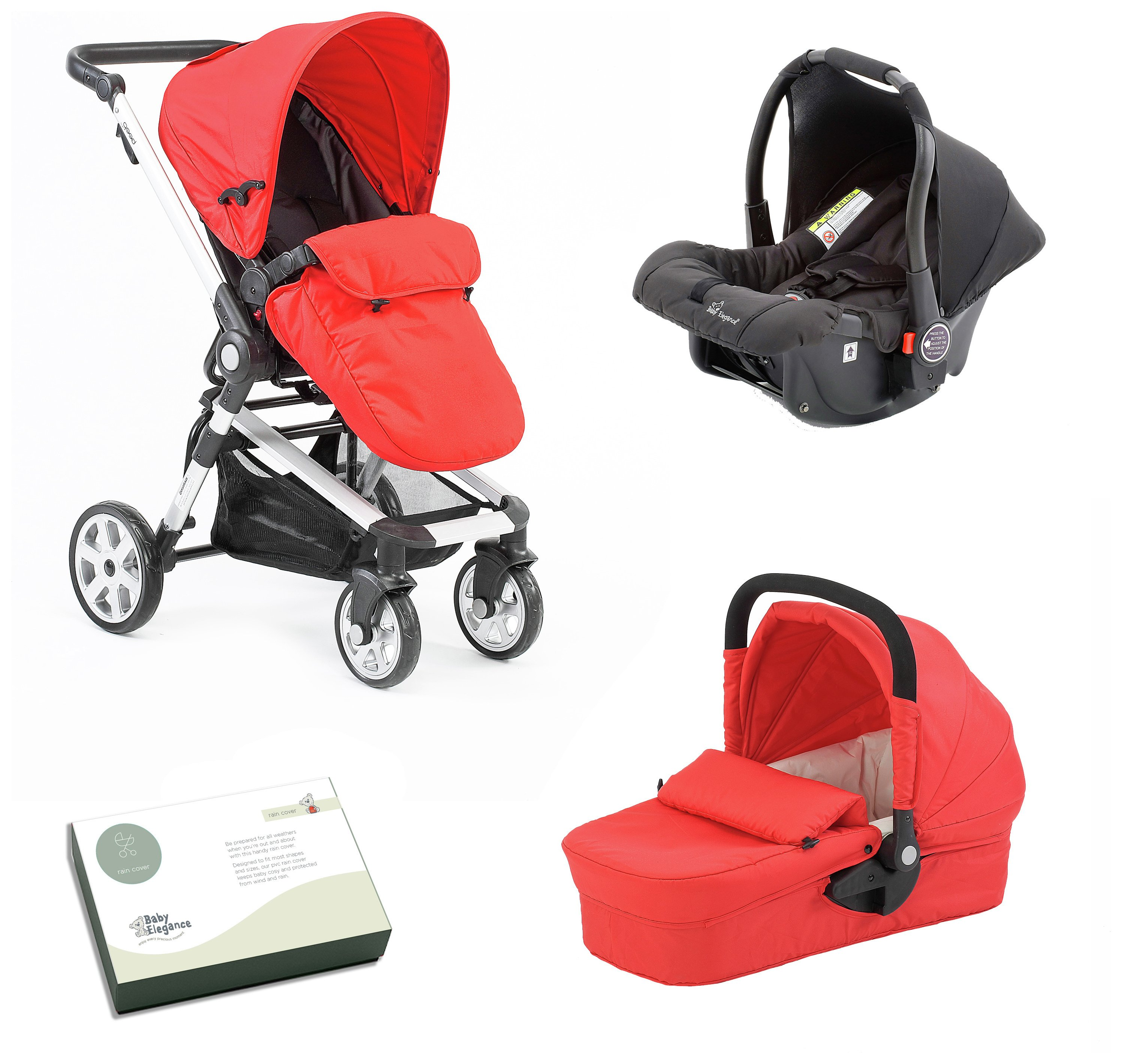 Image of Baby Elegance Beep Twist Travel System - Red.