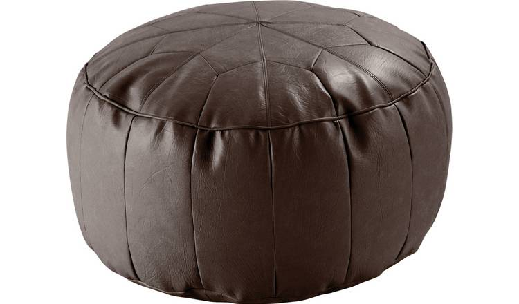 Argos Home Moroccan Faux Leather Footstool - Chocolate