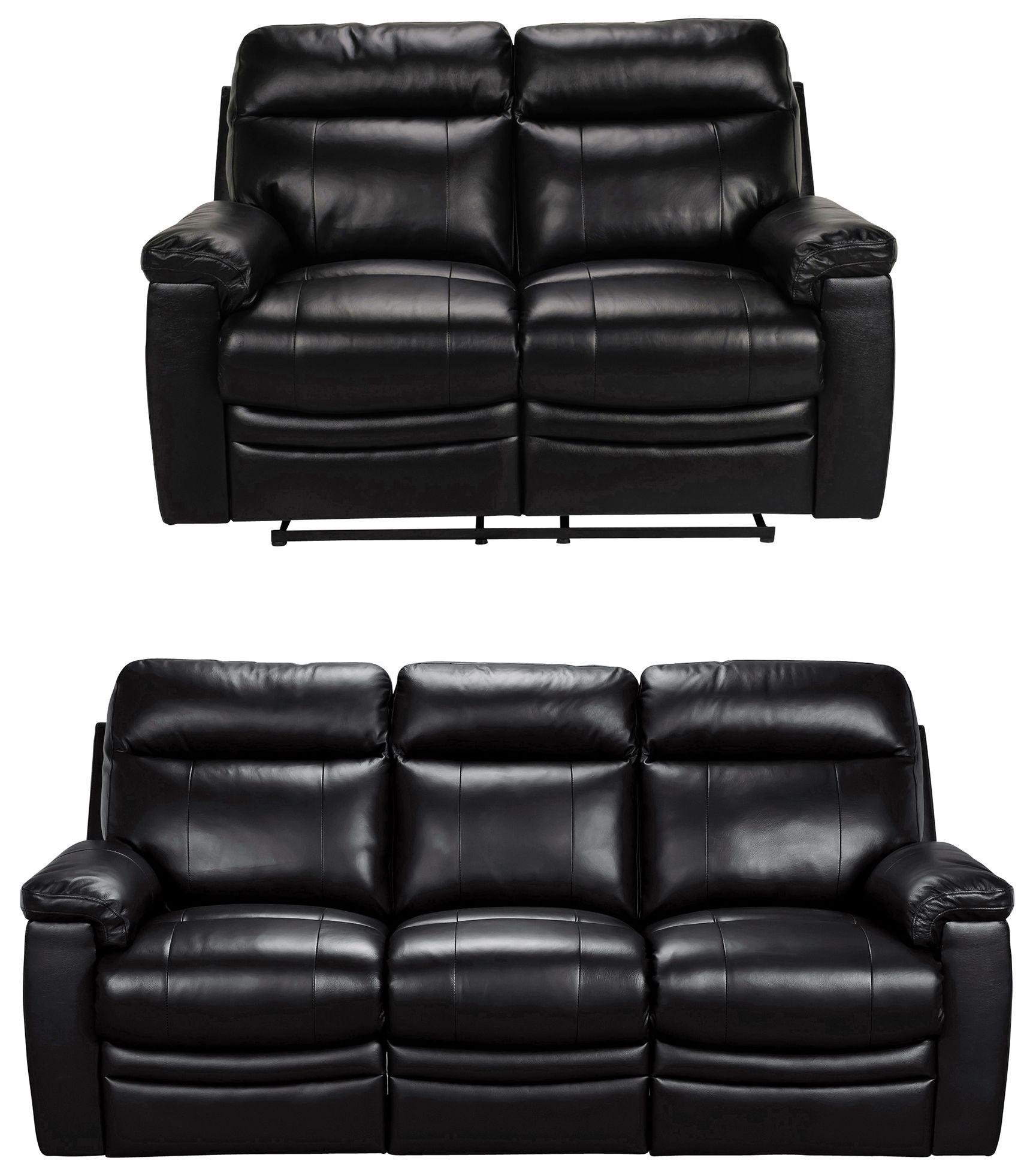 Argos Home Paolo 2 & 3 Seater Manual Recliner Sofas - Black