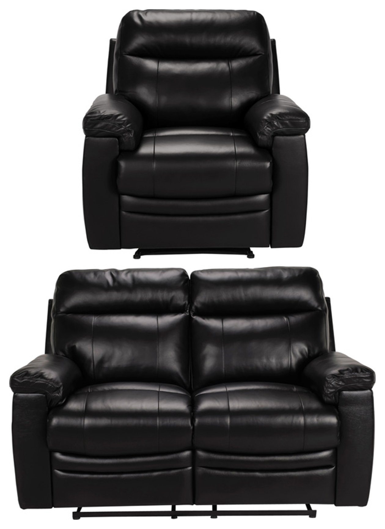 Argos Home Paolo Chair & 2 Seater Manual Recline Sofa -Black