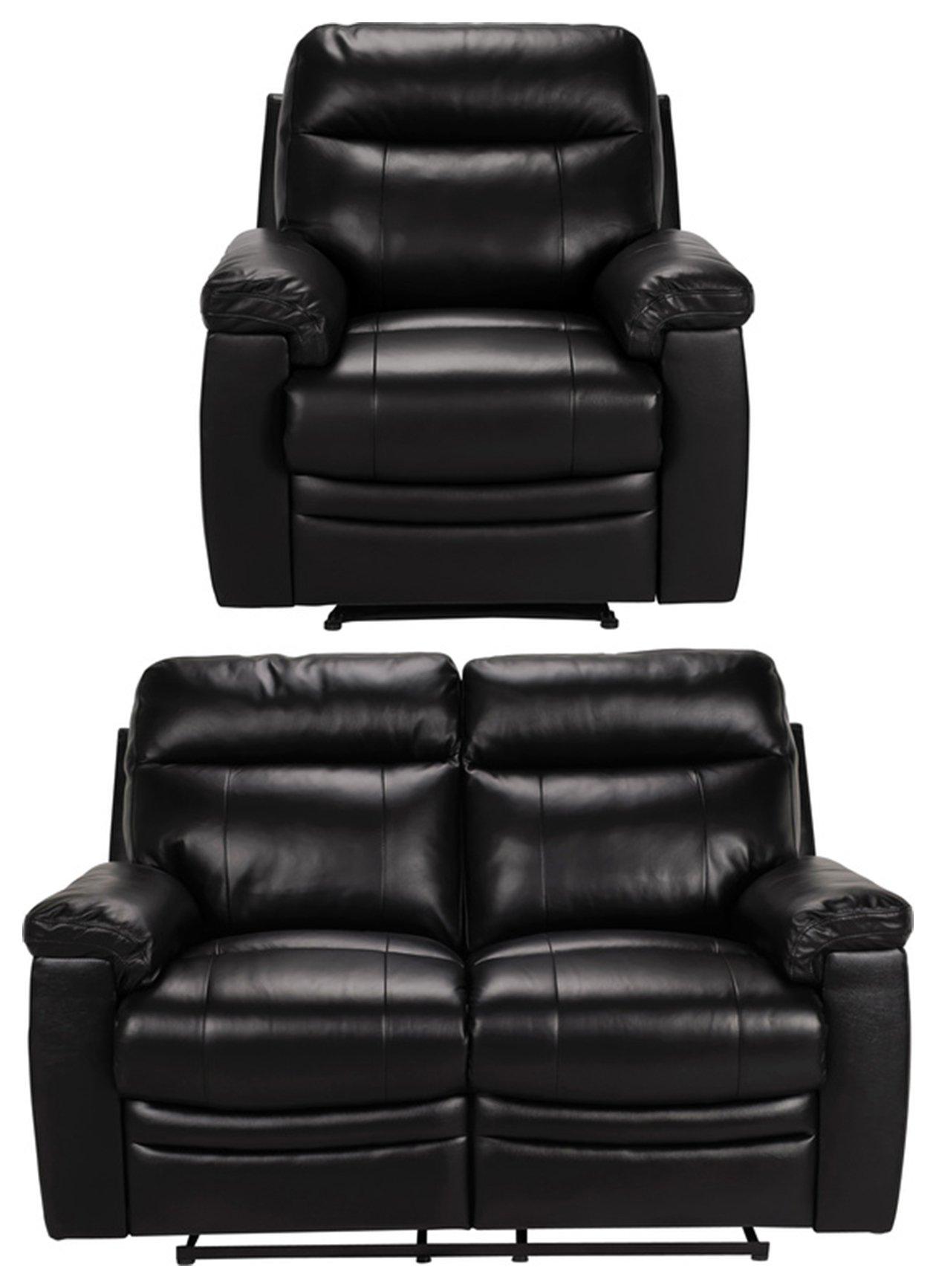 Buy Argos Home Paolo Chair 2 Seater Manual Recline Sofa Black