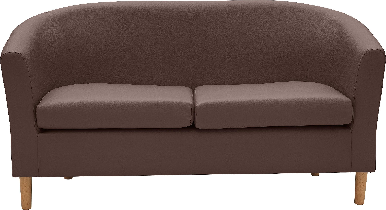 Habitat 2 Seater Faux Leather Tub Sofa - Brown