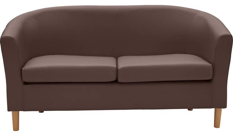 Habitat 2 Seater Faux Leather Tub Sofa - Brown
