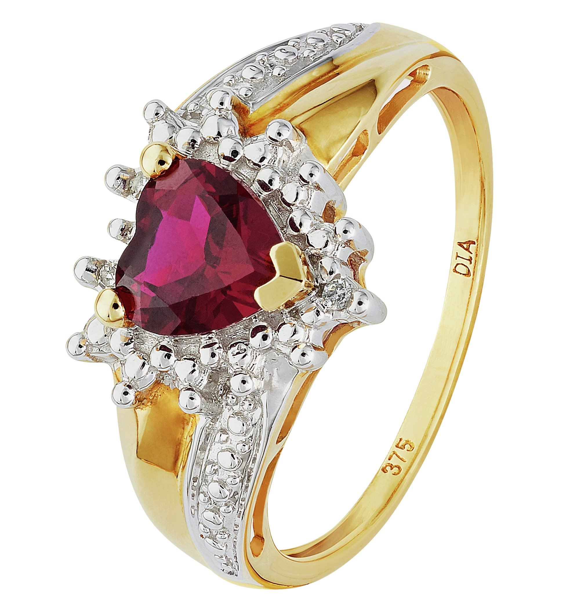 Buy Revere 9ct Gold Created Ruby and Diamond Accent Heart Ring at