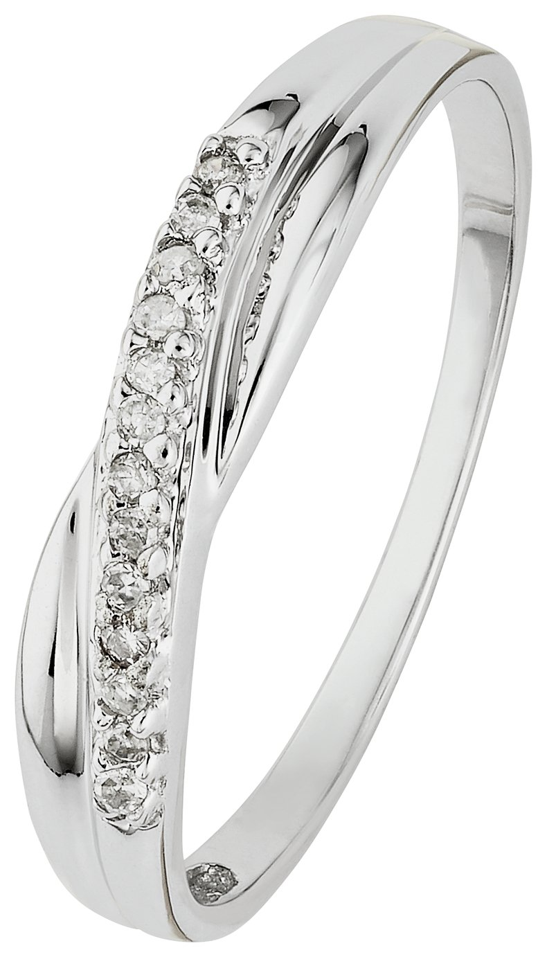 Buy Revere 9ct White Gold Crossover Diamond Accent Eternity Ring